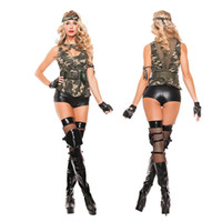 Wholesale Female Military Costumes - Camouflage Color Police Woman Soldier Costume Sexy Army CS Uniform Dress Halloween Party Military Instructors Cosplay Clothing