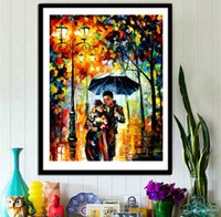 Wholesale People Walking - 5D DIY Lovers Walking in the Rain Oil Painting Landscape Full of Diamond Painting Cross Stitch Kits Over drilling Home Decoration