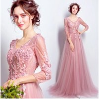 Wholesale Empire Embroidered Prom Dress - 2017 New Cheap Real Image Pink Sweetheart Lace Skirt Formal Elegant Evening Dresses V-Neck Lace Up Court Train Embroidered A-Line Prom Dress