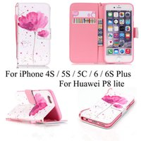 Wholesale Iphone 4s Flip Cases - Pink Flower PU Leather Wallet Flip stand Case Cover for iPhone 4S 5S SE 5C iPhone6  6S plus  Huawei P8 Lite