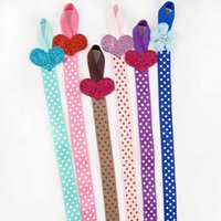 Wholesale heart hair bows - Polka Dot Bow Holder With Glitter Heart Iron Grosgrain Ribbon Toddler Hair Accessories Organizer For Kid