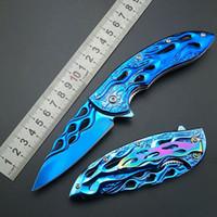 Wholesale fire belts - Blue Fire Flame Fold Knife blue Titanium Artwork Blade Handle Spring-Assisted Folding Knife Collect knife 440C Rainbow belt clamp