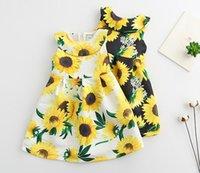 Wholesale Sunflower Flower Girls Dresses - 2017 INS Baby Girls Sunflower Floral Dresses Girls Princess Dress Spring Summer Children Party Lace Flower Sleeveless Vest Dress 2-7years