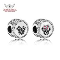 Wholesale Icon Bead - Memnon Jewelry 925 Sterling Silver Limited Edition Mickey & Minnie Sparkling Icons Charm Beads For Women Bracelets DIY Jewelry Making DSN077