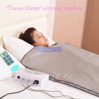 infrared terapi makineleri toptan satış-Yeni model 2 Bölge FIR Sauna FAR INFRARED VÜCUT ZAYIFLAMA SAUNA BLANKET ısıtma tedavisi Ince Çanta SPA AĞıRLıK KAYıR vücut detoks makinesi