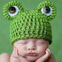 Wholesale Newborn Baby Frog Caps - Newborn Baby Boys Girls Photography Props Caps Lovely Frog Handmade Hat Photo Baby Caps For 0-6 Months 2017 BP026