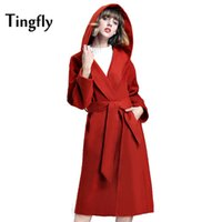 Wholesale Camel Poncho Coat - Tingfly Simple 2017 Warm Winter Coat with Slashes Camel Women Hooded Long Coat Overcoat Poncho Female Casual RED Outerwear