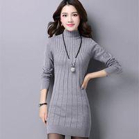 Wholesale Medium Long Women Dresses - Wholesale- new fashion women autumn winter slim sweater female turtleneck long sleeve thick medium-long knitted pullover one piece dress