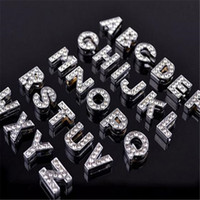 Wholesale bracelet bling letters for sale - Group buy Alphabet Crystal Rhinestone Slider Letter Charm DHL mm Silver Bling Number A TO Z Fit Belt Wrist Strap Bracelets Accessories Christmas Gift