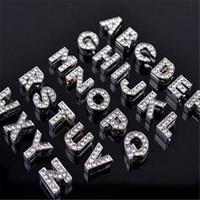 Wholesale Bling Numbers - Alphabet Crystal Rhinestone Slider Letter Charm DHL 8mm Silver Bling Number A TO Z Fit Belt Wrist Strap Bracelets