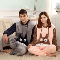 Wholesale Onesie Feet - NEW Winter Totoro Couple Pajama Sets Adult Onesie Pyjamas For Women Men Female Adult Footed Pajamas Animal Warm Sleepwear
