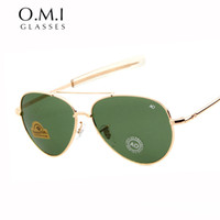 Wholesale Military Pilot Aviator - Brand Vintage 90s New Army Military AO Aviator Sunglasses Men American Optical Lens 12K Gold Plated James Bond Tint Glasses OM288