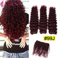 Wholesale 99j curly weave online - Burgundy Brazilian Hair Curly Bundles j Brazilian Virgin Hair Afro Deep Weave Beauty Products Deep Weave Human Hair a