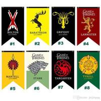 ingrosso bandiera del drago-75 * 125 cm Game Of Thrones Flag House Targaryen Lannister Stark Wolf Drago Poliestere Bandiere Famiglia Banner Bandiera Home Decor 18 Stili