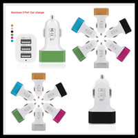 Wholesale Ac Portable Usb - Aluminum Alloy 5V 3.1A 3 USB Port Car Charger AC adapter Portable Colorful for iphone 5S Samsung S5 S6 Edge HTC Blackberry
