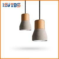 Wholesale Wholesale Socket Light Cords - Pendant Light Wood E27 Socket Retro Vintage Cement Pendant Lamp Hanging Lamp for Dining Room Indoor Decoration Droplight