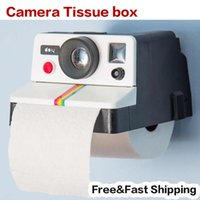 Wholesale Toilet Paper Dispensers Wholesale - Wholesale- Creative 80s Style Cute Retro Polaroid Camera Shape Inspired Toilet Paper Holder Toilet Roll Box Tissue Dispenser Free Shipping
