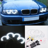 Wholesale universal halo lights - 4PCS 131MM+146MM Reflector CCFL Angel Eye Rings 6000K Halo Light Lamp Kit for BMW 3 SERIES E46 Blue White