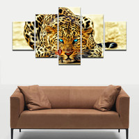 Wholesale Leopard Print Home Decor - 5 Pieces Wall Decor Painting Abstract Leopards Wall Art Canvas Picture For Living Room Home Decoration Picture Wall Decor Art