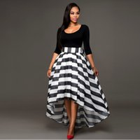 Wholesale Women Evening Cocktail Stripe Long Bow Dress Ladies Slash Neck Asymmetrical Casual Irregular Dress Patchwork Celeb Skirt with Top Two Pieces