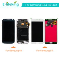 Wholesale Lcd Display Galaxy S4 - LCD Display For Samsung Galaxy S4 S5 Touch Screen Digitizer Assembly 100% No Dead Pixel with Free DHL Shipping