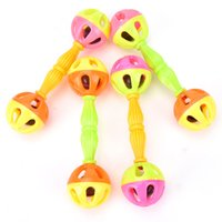 Wholesale Wholesale Plastic Baby Rattles - Wholesale- 2Pcs Random Color Baby Kid Toy Shaking Dumbells Rattles Bells Baby Early Development Educational Toys Wholesale