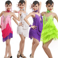 Wholesale Professional Ballroom Dancing - Girls professional Latin Dancewear Dress costume Kids Tassels Sequins Tango Ballroom Dance Dresses Ballroom Stage Performance dress Outfits