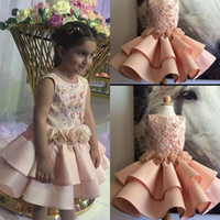 Wholesale sleeveless layered dresses children resale online - Knee Length Flower Girls Dresses Jewel D Appliques Layered Satin Handmade Flowers A Line Girls Pageant Dress For Children Party Dress