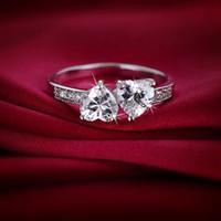 zirkonoxid-solitär-ringe großhandel-Liebhaber-Ring für Frauen-weißes Gold überzog klassischen einfachen Entwurfs-Ring-Doppelt-Herzen Solitaire Zirconia-Frauen-elegante liebevolle Hochzeits-Partei HR-189