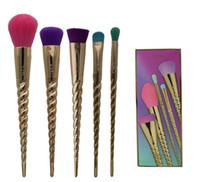 Wholesale Synthetic Mix Hair - New Tarte Makeup Brush 5pcs   Set Gold Christmas Brush Mixed Foundation Cream Hidden Silhouette Composition Brush