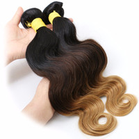 Wholesale European Hair Extentions - Indian Human Hair 7A Indian Body Wavy human Hair 4 Bundles Body Wave Ombre 3 Tones 1B 4 27# Weave Human Hair Extentions