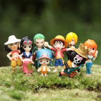Wholesale Gardening Set Toy - Free Shipping 8pcs set One Piece PVC Action Figure Toys 3-4.5cm Microscopic Bonsai Succulents Garden Decoration Toys Doll