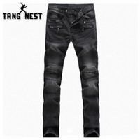 Wholesale Cool Pattern Designs - Wholesale-TANGNEST New Arrival Cool Design Fashion High Quality Autumn Denim Pants Casual Comfortable Full Length Jeans Male MKN744