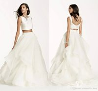 Wholesale Modern Bateau Wedding Dress - Newest Two Pieces Mikado Crop Top Wedding Dresses 2017 Bateau Back with Buttons Fully Lined Summer Bohemian Beach Bridal Gowns Customized