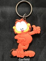 Wholesale Double Men Toys - cute Garfield PVC rubber double-sided keychains ring kids toys cute cartoon Garfield keychains child gift new style
