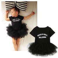 Wholesale Infant Ballet Dress - Baby girls ballet dress romper infants letters print tutu dress dance romper rock n roll ballerina printing short sleeve summer outfits