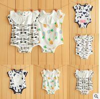 Wholesale Hot Girl Nightwear - Infant sleepwear romper boys girls baby Monkey Animal printed jumpsuit toddler kids fashion short sleeve nightwear 2017 Hot sale G0233