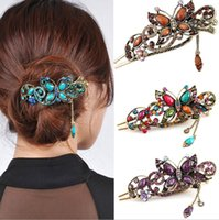 Wholesale Rhinestone Barrettes Free Shipping - Wholesale Women Retro Vintage Rhinestone Crystal Butterfly Hair Barrettes Hair Clips Hair Band Accessories 12pcs 5 colors free shipping