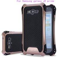 Wholesale Carbon Black Packaging - For Samsung galaxy J2 prime grand prime J7 Prime ON7 2016 Hybrid Armor Case Rubber Shockproof Combo Carbon Fiber Case BackCover OPP Package