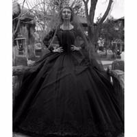 ingrosso abito bianco nero tinto-2018 New Ball Gown Black Gothic Abiti da sposa bianco gioiello maniche lunghe abito da sposa in pizzo Custom Made Plus Size abiti da sposa