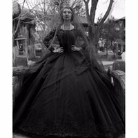 Wholesale gothic wedding dresses for sale - 2018 New Ball Gown Black Gothic Wedding Dresses White Jewel Long Sleeves Lace Wedding Dress Custom Made Plus Size Bridal Gowns