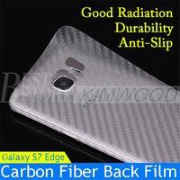 Wholesale Carbon Fiber Skin Stickers - For Samsung S7 S6 Edge Plus 3D Carbon Fiber Sticker Back Cover Sticky Skins Protector Film Free DHL