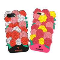 Wholesale Silicone Rubber Flower - Universal Rose Flower Soft Silicone Rubber Shockproof Phone Case for IPhone 7 6 6s plus Shell Back Cover OPP