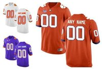 Wholesale Mens Clemson Tigers Custom Stitched College Football Limited Jerseys Orange Purple White Personalized Any Name Any Number Size S XXXL