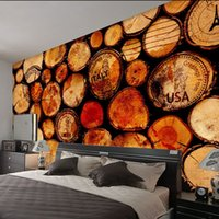 Wholesale Large Decoration Wedding Rings - Custom Wall Mural big trees woods Rings Large Murals Bar Restaurant Living Room bedroom decoration Decor Non-woven Wallpaper