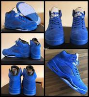 top toptası toptan satış-2017 Yüksek Kalite 5 V Raging Bulls Mavi Süet Erkek Basketbol Ayakkabı 5 s Boğa Sepeti topu Spor Sneakers Kutusu Boyutu 8-13