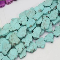 Wholesale loose turquoise beads resale online - 40cm Length Irregular Synthetic Turquoises Loose Beads for Making Slice Pendant Wedding Woman Gift Jewelry Exaggerated Stone Choker Necklace