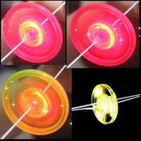 Wholesale Lighting Up Saucer - LED Luminous Flywheel Toy Flashing Light Up Whistle Flying Saucer Glow Toys for Kids Birthday With Retail Packaging