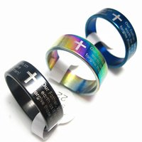 Wholesale English Cross Rings - Brand New 100PCs English The Lord's Prayer Cross Polished Stainless Steel Men's Women's Jewelry Rings Large Sizes Wholesale Mixed Lots