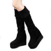 Wholesale Hight Heels Boots - Wholesale- 2016 autumn knee-high women's boots black strecth flock thigh hight boot platform high heel shoes woman non-slip botas femininas